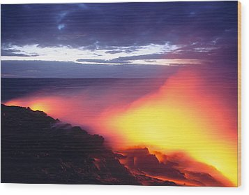 Glowing Lava Flow Wood Print by William Waterfall - Printscapes