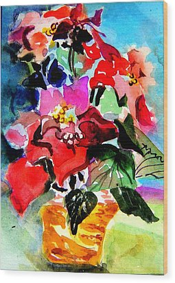 Glowing Poinsettias Wood Print by Mindy Newman