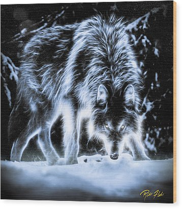 Wood Print featuring the photograph Glowing Wolf In The Gloom by Rikk Flohr