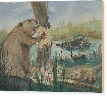 Gnawing Beaver Wood Print by Barbara McGeachen