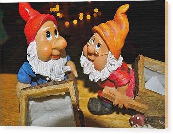 Gnome Friends Wood Print by Brynn Ditsche