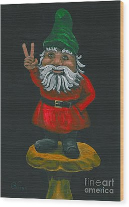Gnome Of Peace Wood Print