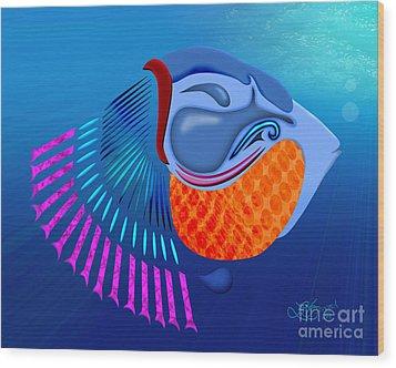 Go Fish Wood Print by Linda Seacord