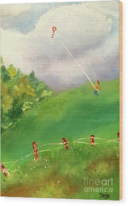 Wood Print featuring the painting Go Fly A Kite by Denise Tomasura