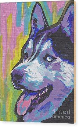 Go Husky Wood Print by Lea S