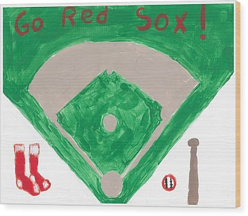 Go Red Sox Wood Print by Rosemary Mazzulla