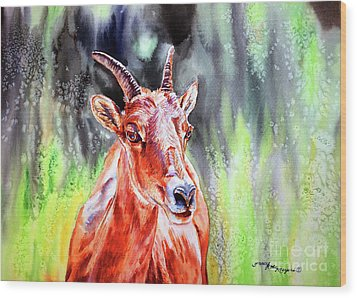 Goat From The Mountain Wood Print by Tracy Rose Moyers