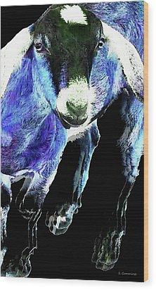 Goat Pop Art - Blue - Sharon Cummings Wood Print