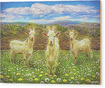Goats In The Dandelions Wood Print