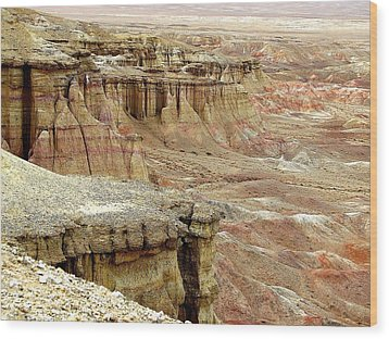 Gobi Desert White Cliffs Wood Print
