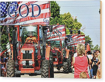 God Bless America And Farmers Wood Print by Toni Hopper