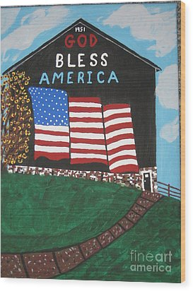 Wood Print featuring the painting God Bless America Barn by Jeffrey Koss