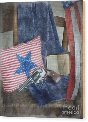 Wood Print featuring the photograph God, Guns And Old Glory by Benanne Stiens