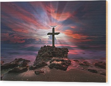 God Is My Rock Special Edition Fine Art Wood Print by Justin Kelefas