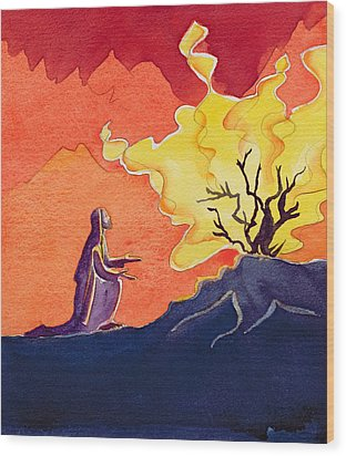 God Speaks To Moses From The Burning Bush Wood Print by Elizabeth Wang