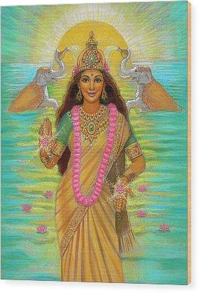 Goddess Lakshmi Wood Print by Sue Halstenberg