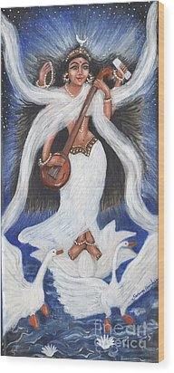 Goddess Of Arts Wood Print by Saranya Haridasan