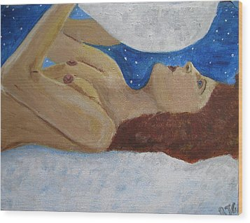 Wood Print featuring the painting Goddess Of The Moon by Barbara Giordano