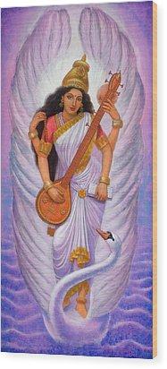 Goddess Saraswati Wood Print by Sue Halstenberg