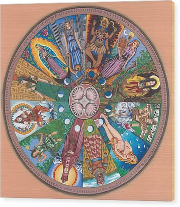 Goddess Wheel Guadalupe Wood Print