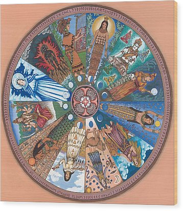 Goddess Wheel Wbwoman Wood Print