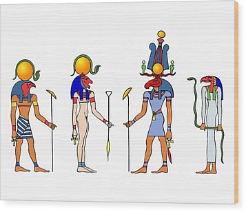 Gods And Goddess Of Ancient Egypt Wood Print by Michal Boubin