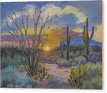 God's Day - Sonoran Desert Wood Print by Diane McClary