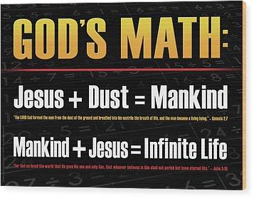 God's Math Wood Print by Shevon Johnson