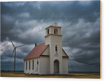 God's Storm Wood Print by Darren White