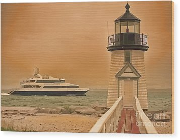 Godspeed At Brant Point Nantucket Island Wood Print by Jack Torcello