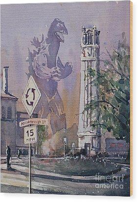 Wood Print featuring the painting Godzilla Smash Ncsu- Raleigh by Ryan Fox