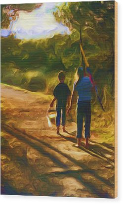 Goin To The Beach Wood Print