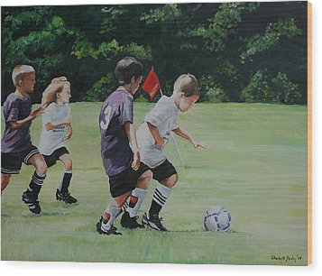 Going For The Goal Wood Print