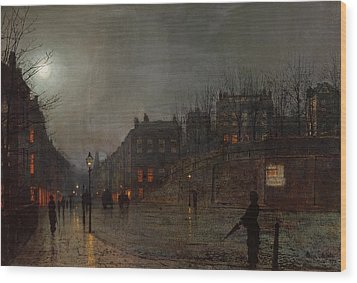 Going Home At Dusk Wood Print by John Atkinson Grimshaw