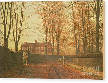 Going To Church Wood Print by John Atkinson Grimshaw