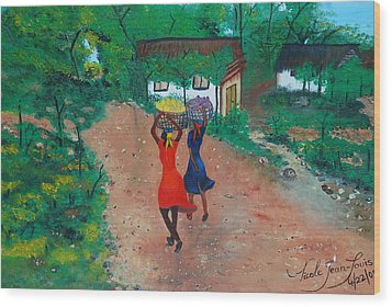 Wood Print featuring the painting Going To The Marketplace 1 by Nicole Jean-Louis