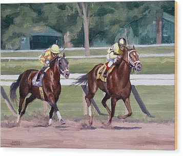 Going To The Whip Wood Print by Linda Tenukas