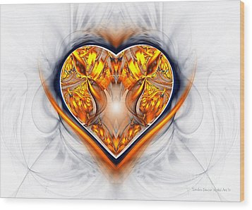 Gold And Sapphire Heart  Wood Print by Sandra Bauser Digital Art