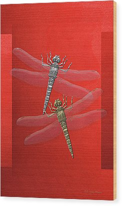 Wood Print featuring the digital art Gold And Silver Dragonflies On Red Canvas by Serge Averbukh