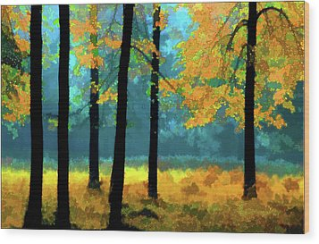 Wood Print featuring the photograph Gold Anl Blue Autumn Day by Vladimir Kholostykh