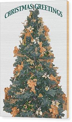Gold Bow Xmas Card Wood Print
