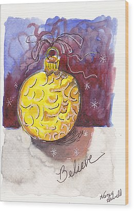 Gold Christmas Ornament Wood Print by Michele Hollister - for Nancy Asbell