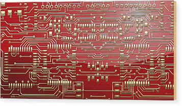 Gold Circuitry On Red Wood Print by Serge Averbukh