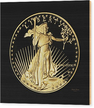 Gold Coin Front Wood Print by Phyllis Denton
