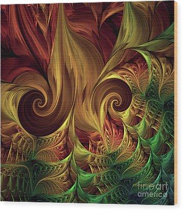 Wood Print featuring the digital art Gold Curl by Deborah Benoit