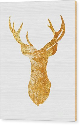 Gold Deer Silhouette Watercolor Art Print Wood Print by Joanna Szmerdt
