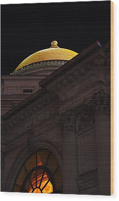 Wood Print featuring the photograph Gold Dome At Night by Don Nieman