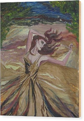 Gold Dress In The Wind Wood Print by Penfield Hondros