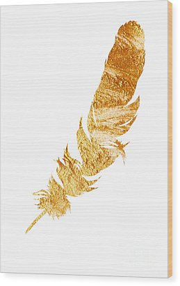 Gold Feather Watercolor Painting Wood Print by Joanna Szmerdt