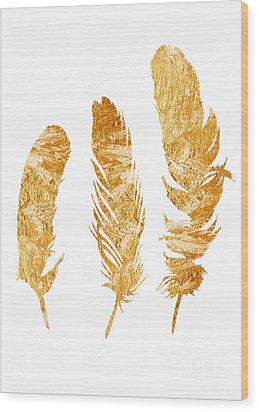 Gold Feathers Watercolor Painting Wood Print by Joanna Szmerdt